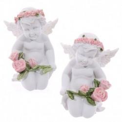 Querubin arrodillado con rosas